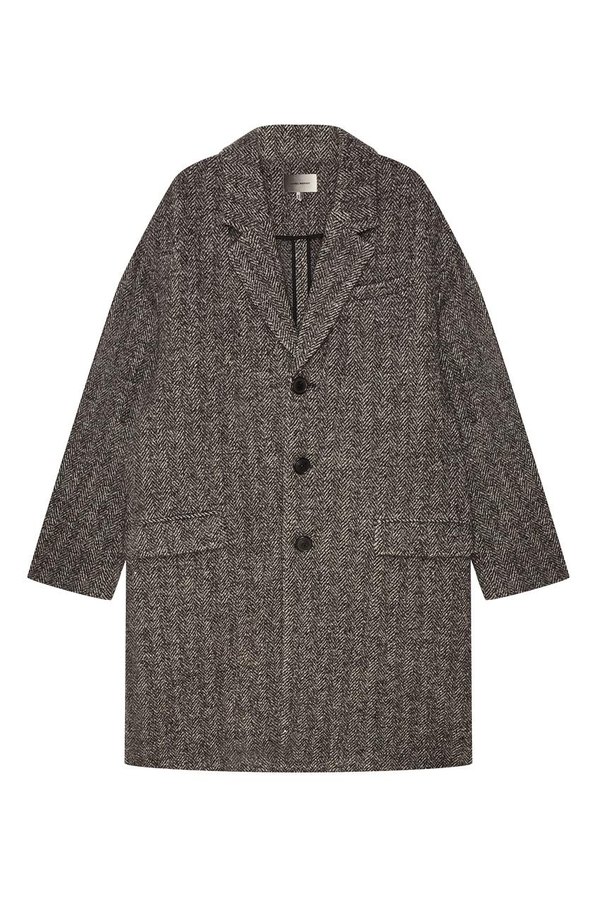 где купить Isabel Marant Серое шерстяное пальто по лучшей цене