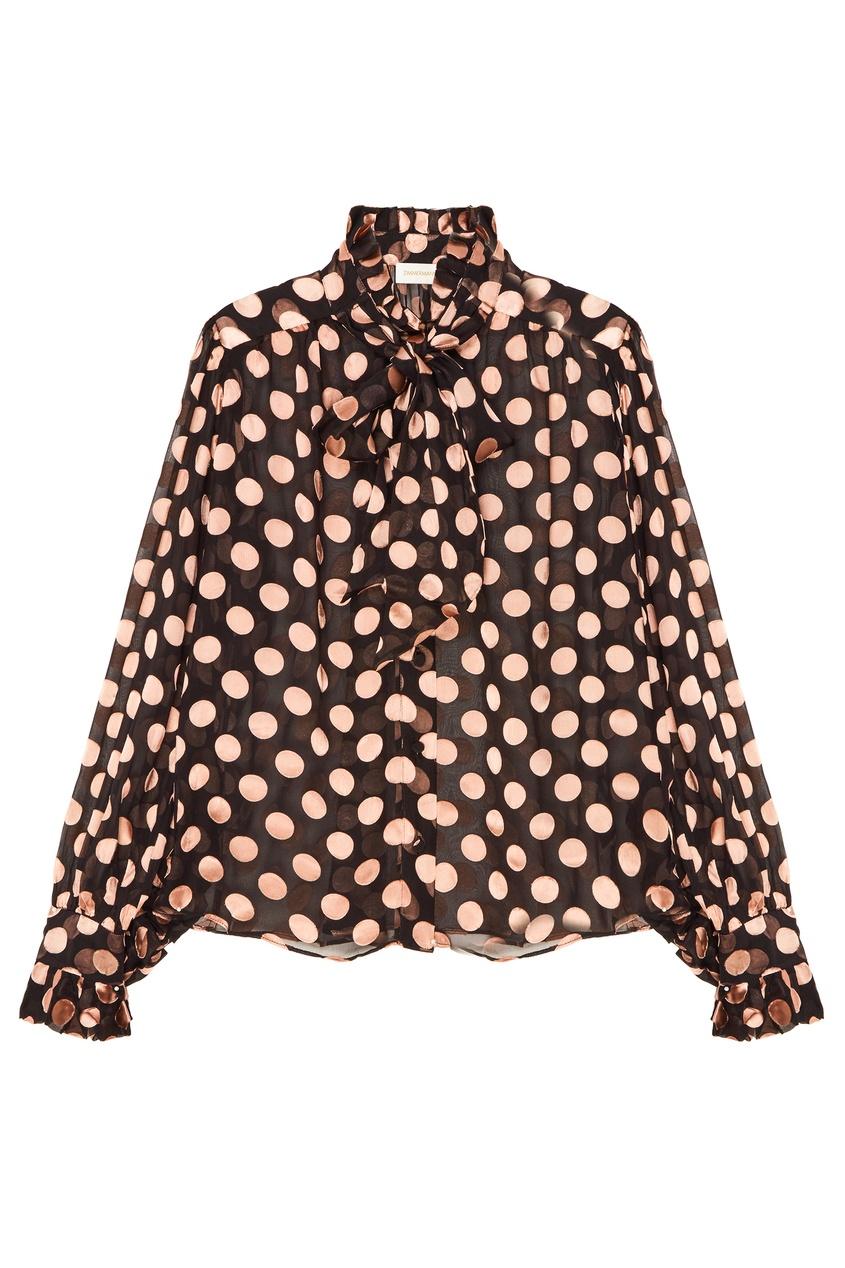 Купить со скидкой Черная блузка в горошек