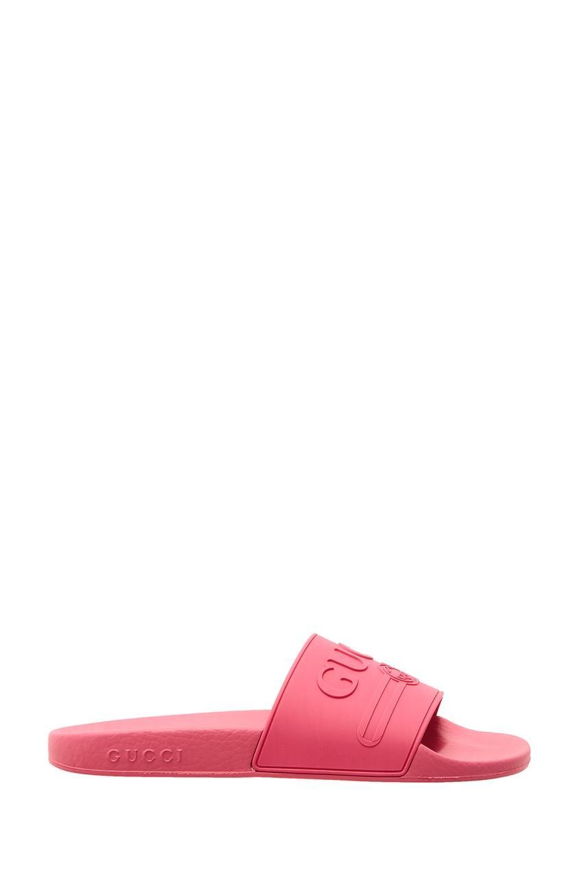 женские шлепанцы gucci, розовые
