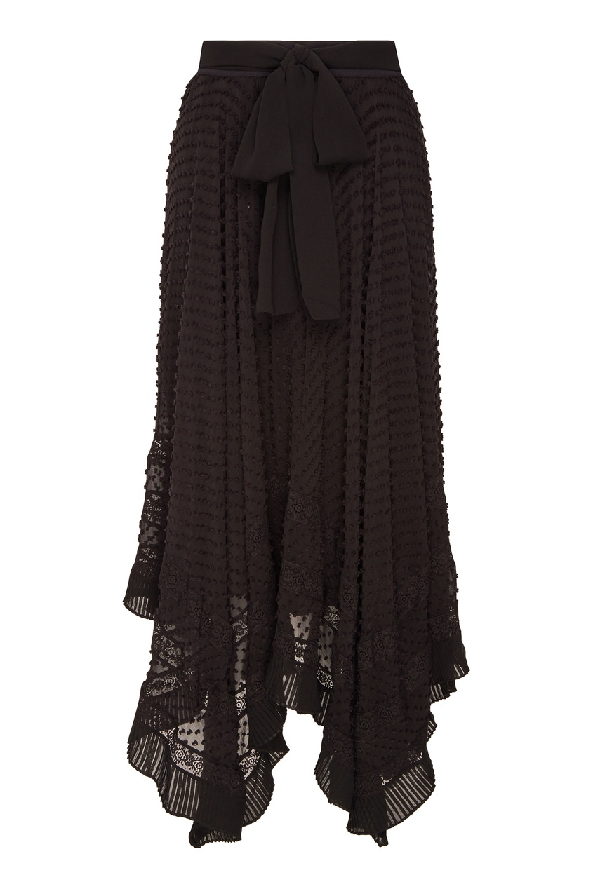 Черная шелковая юбка с поясом