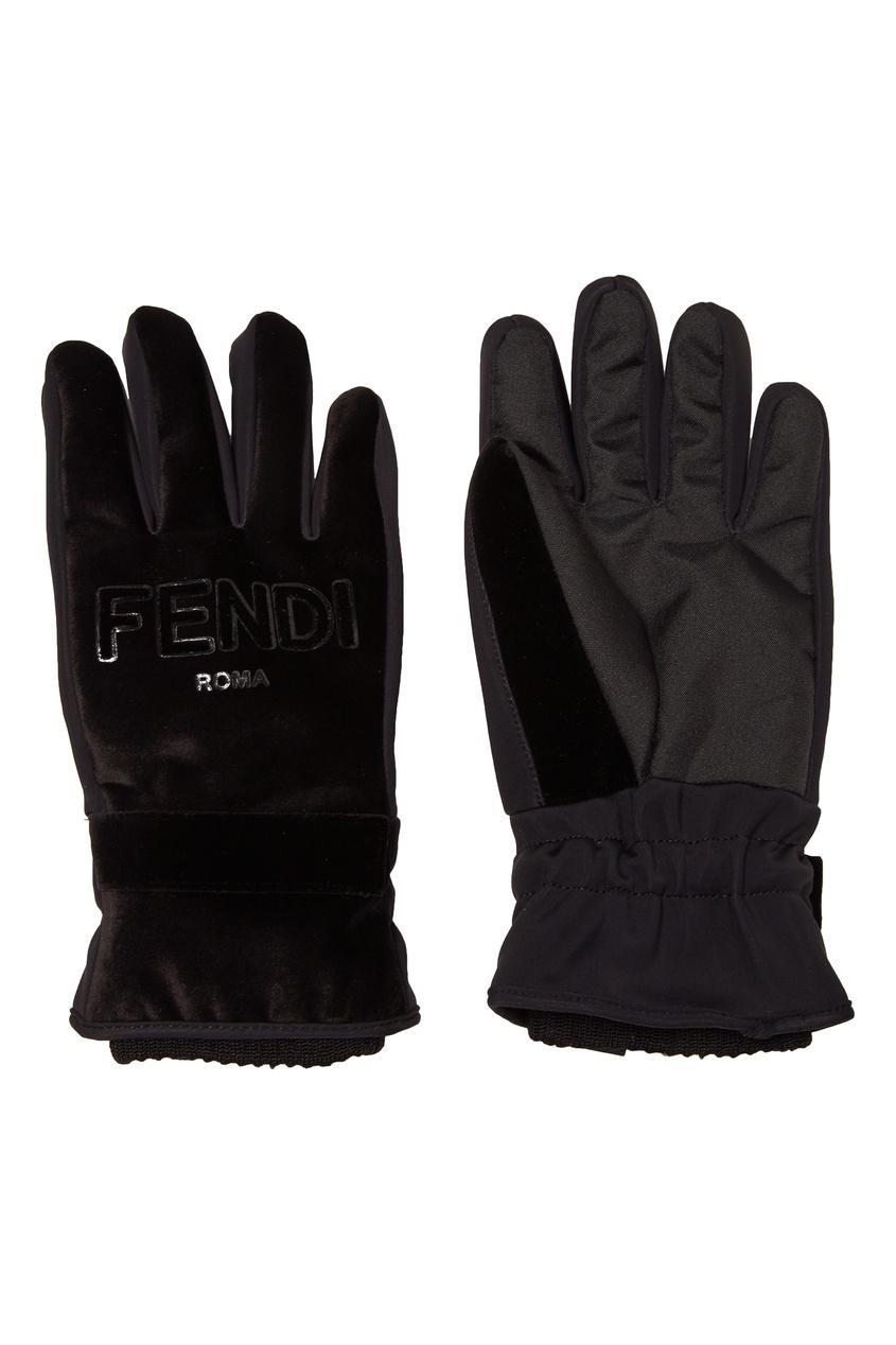 женские перчатки fendi, черные