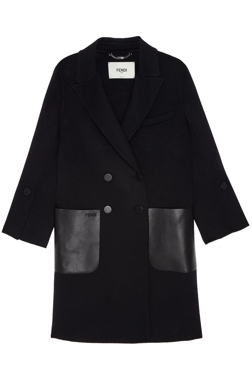 Купить Черное двубортное пальто от Fendi черного цвета