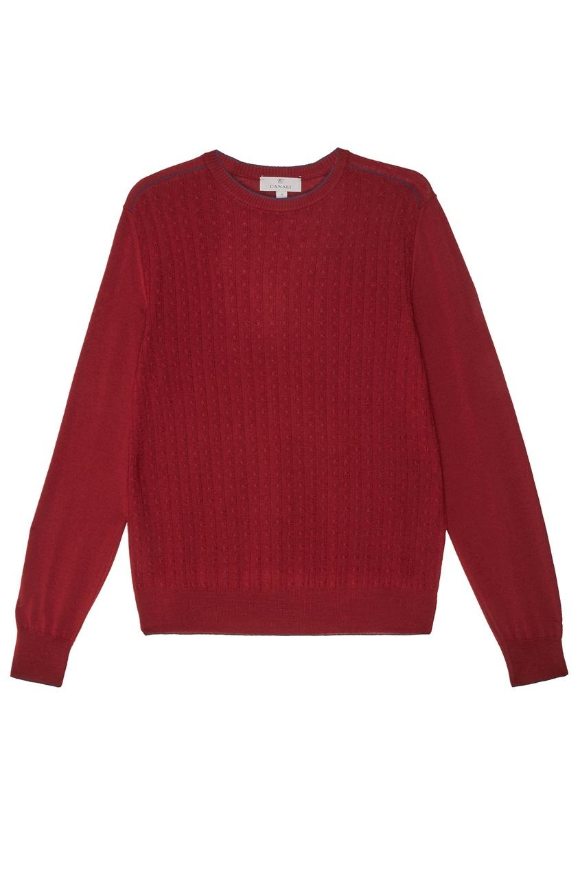 Купить Бордовый джемпер с окантовкой от Canali красного цвета