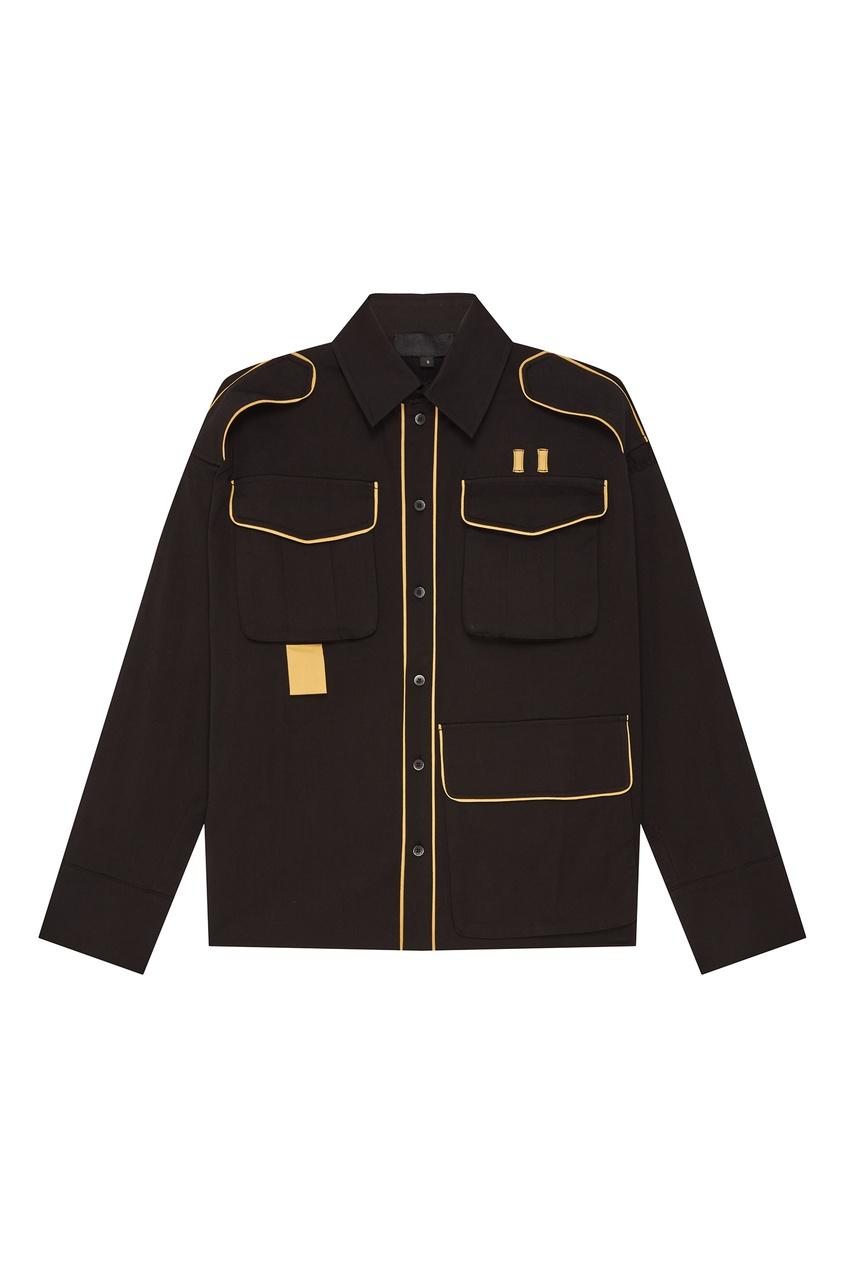 Купить со скидкой Черная рубашка с контрастной отделкой Moonrise