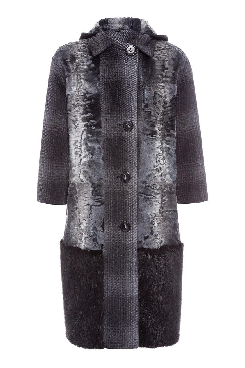 Однобортное пальто с меховой отделкой ColorTemperature