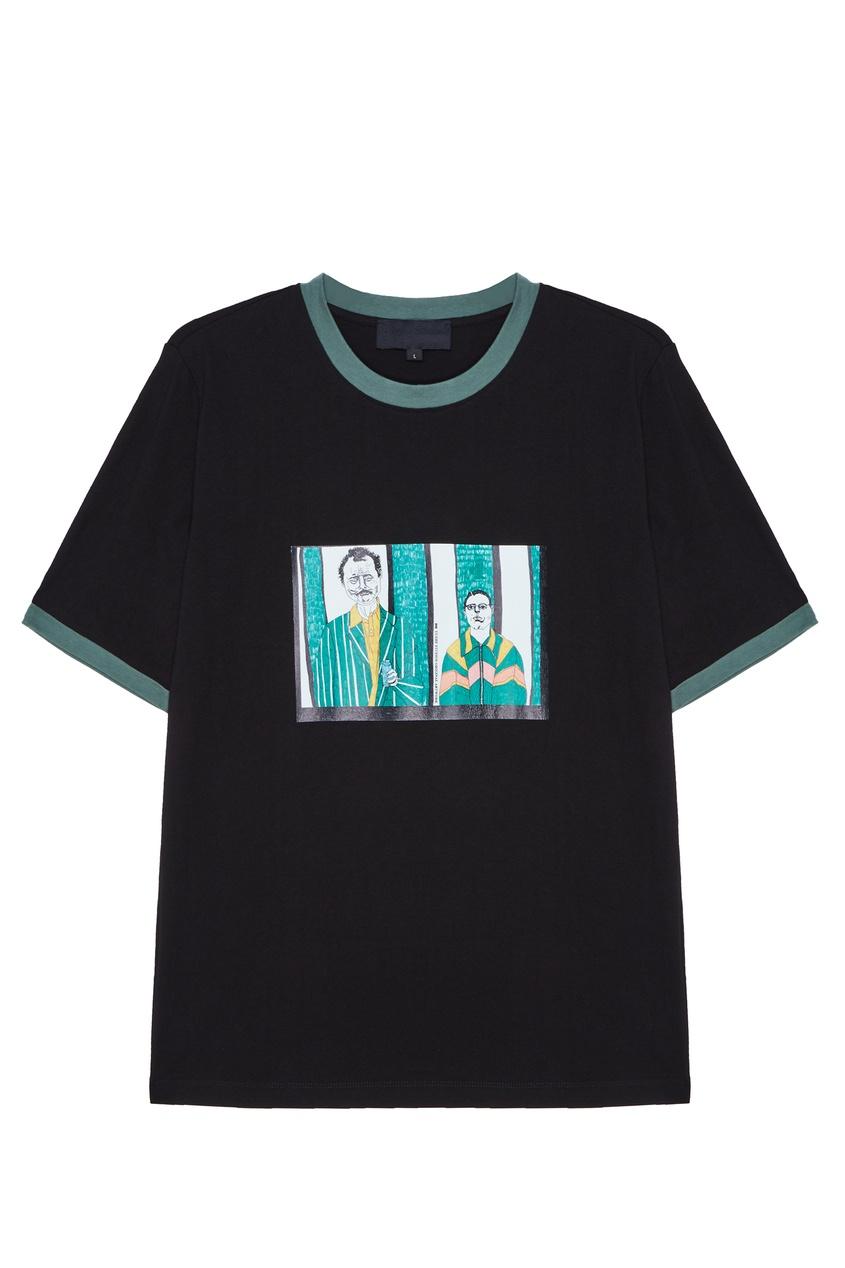 Купить со скидкой Черная хлопковая футболка с принтом Rushmore