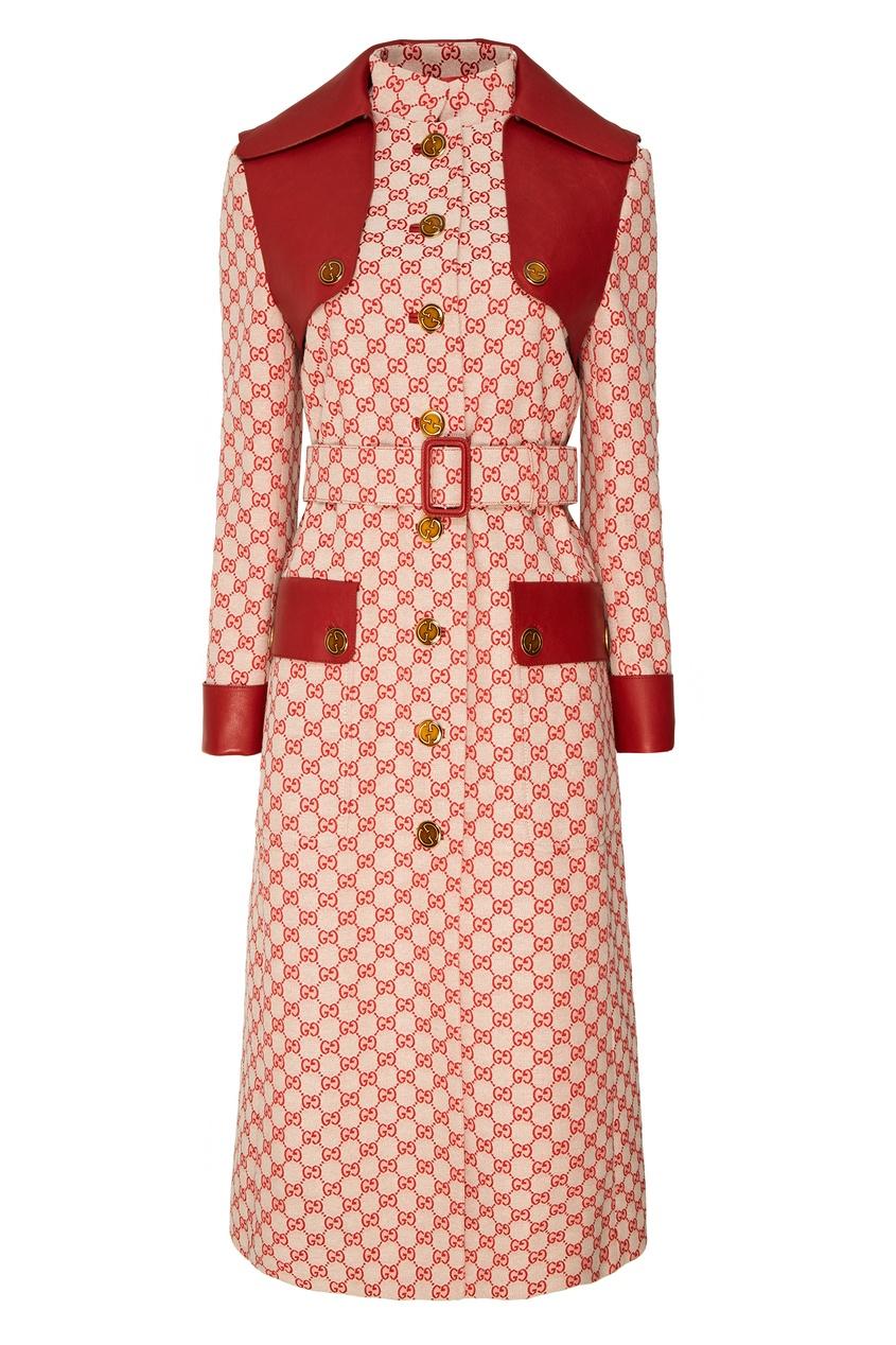 женское пальто gucci, красное