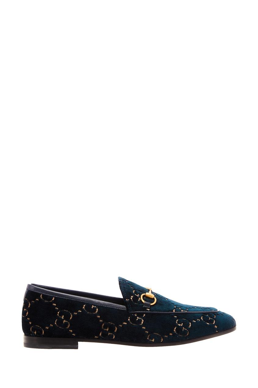 Бархатные туфли с монограммами от Gucci