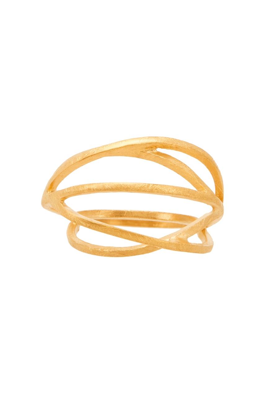 Объемное кольцо с позолотой