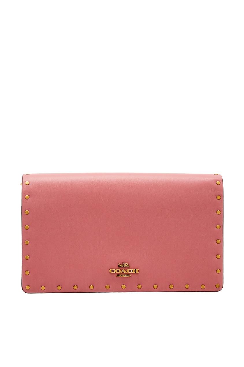 Розовая сумка с заклепками Coach