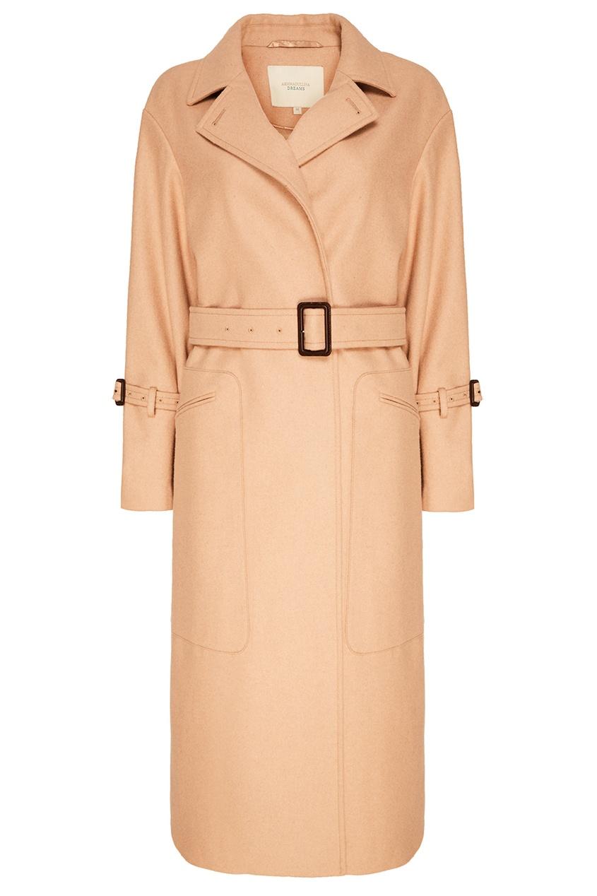 Купить со скидкой Бежевое пальто с поясом