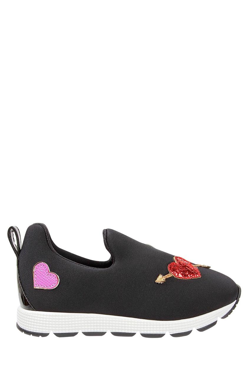 Купить Черные кроссовки с аппликацией черного цвета
