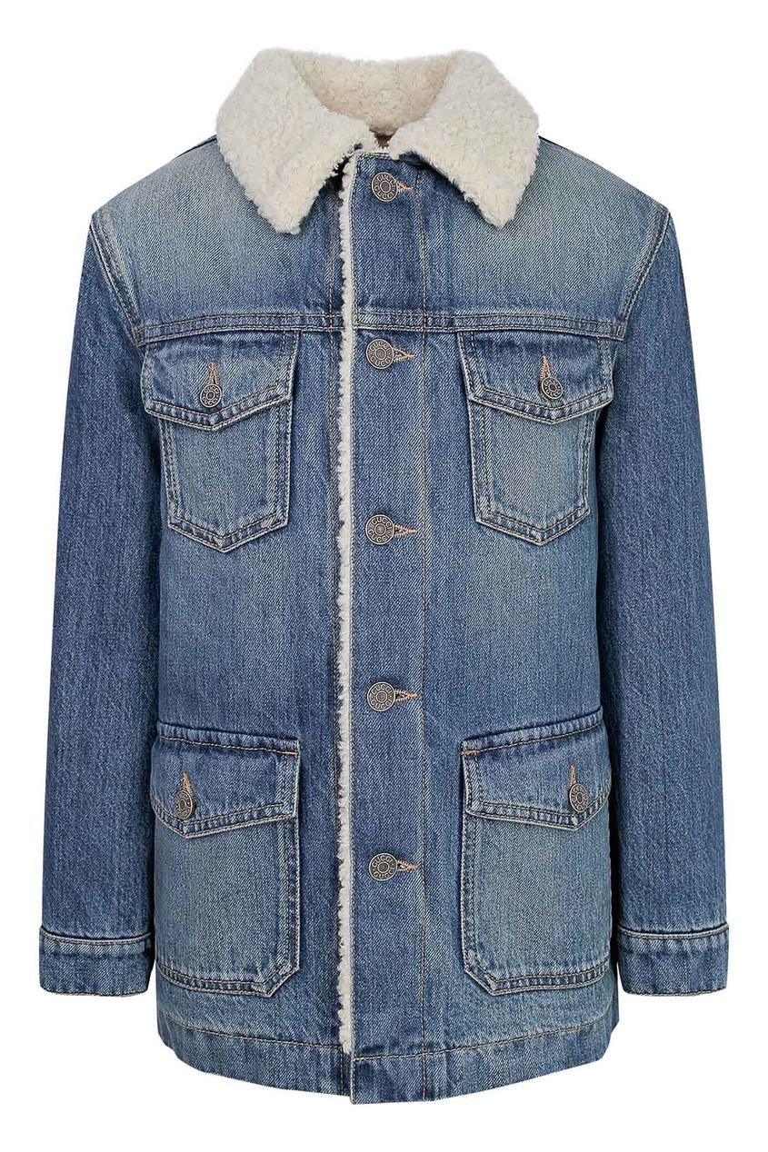 Джинсовая куртка с вышивкой от Gucci Kids