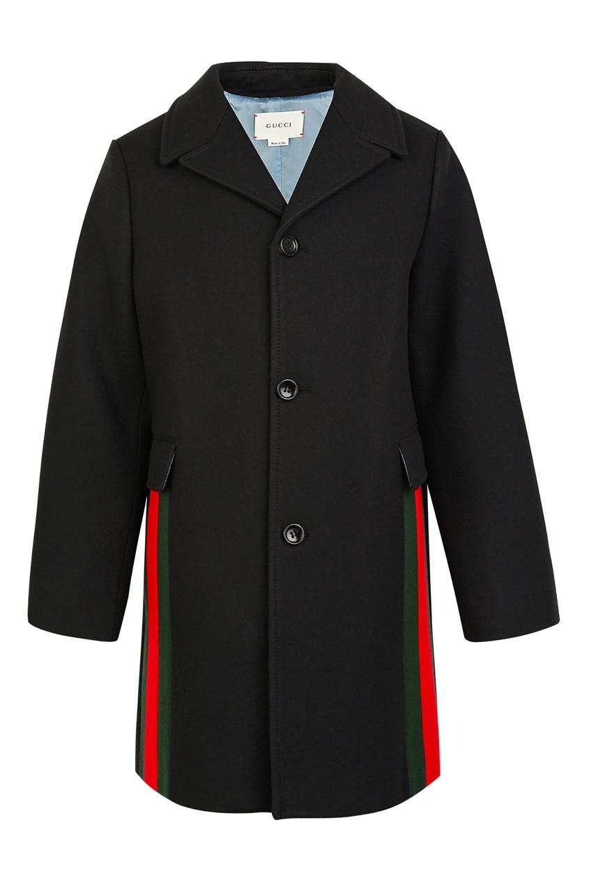 Черное пальто с контрастной отделкой от Gucci Kids