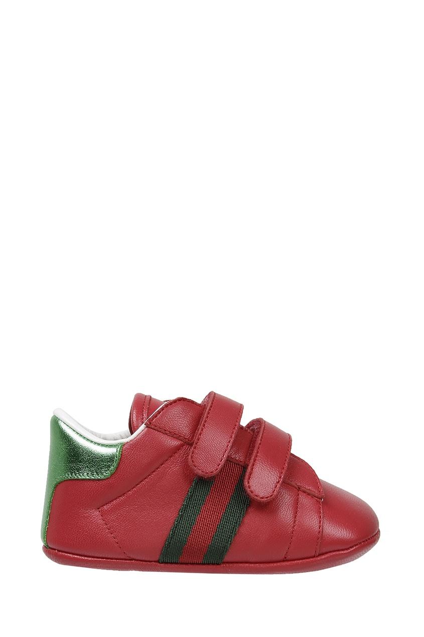 Красные кроссовки на липучках от Gucci Kids