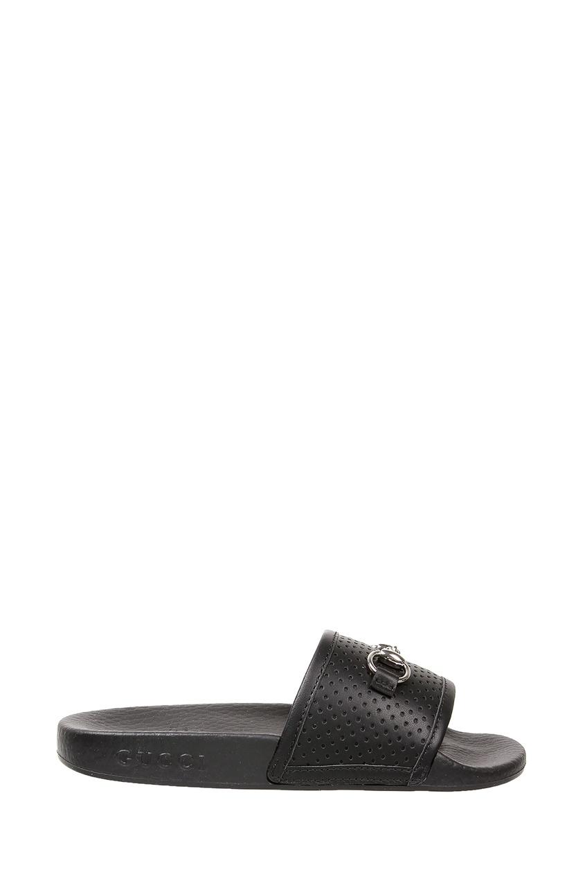 Черные шлепанцы с пряжкой от Gucci