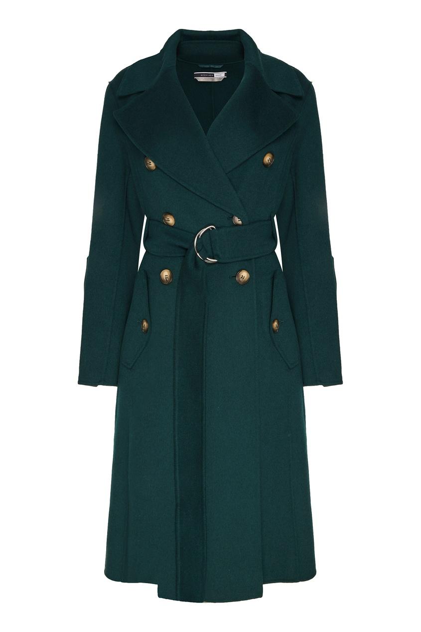 Зеленое двубортное пальто Edro Max Mara