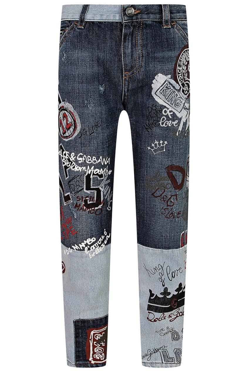 Комбинированные джинсы с отделкой Dolce&Gabbana Children