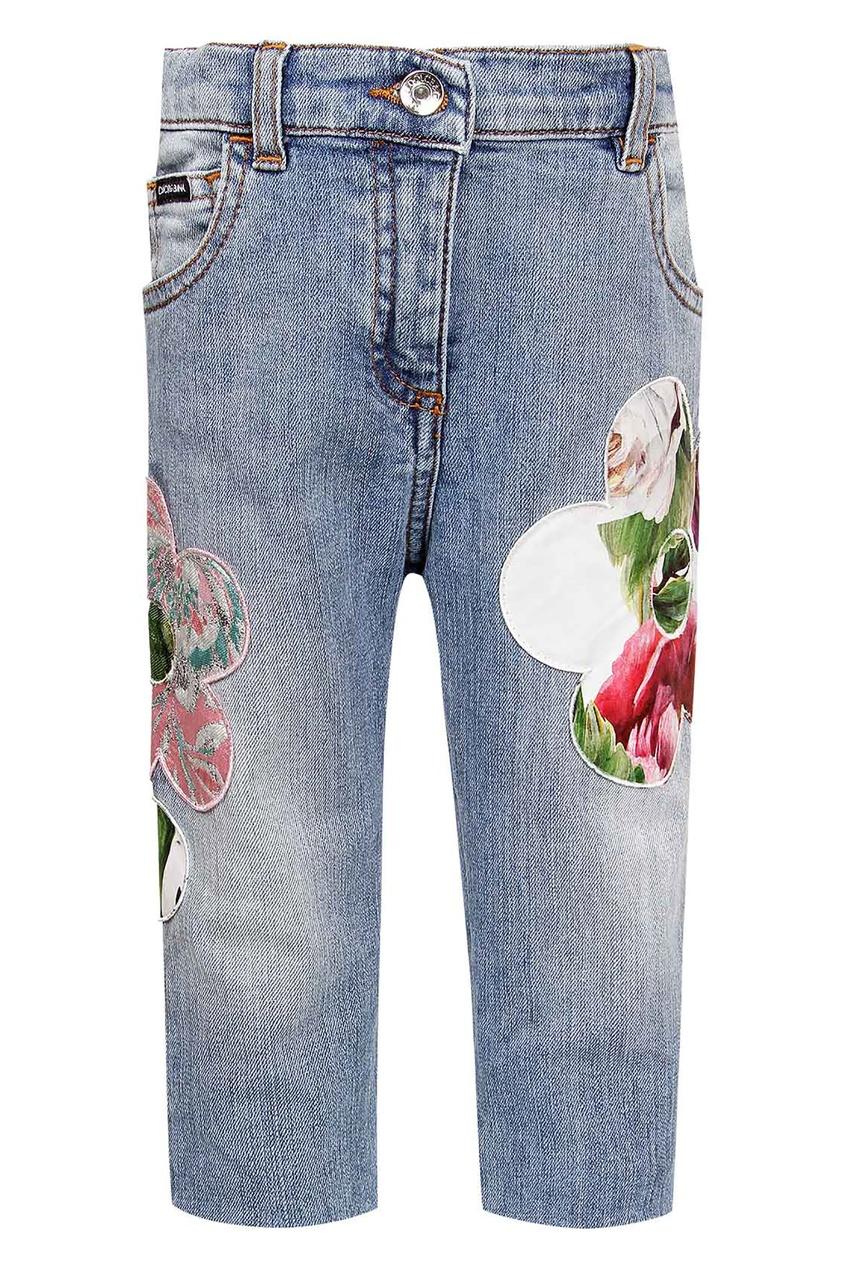 Купить Голубые джинсы с цветами синего цвета