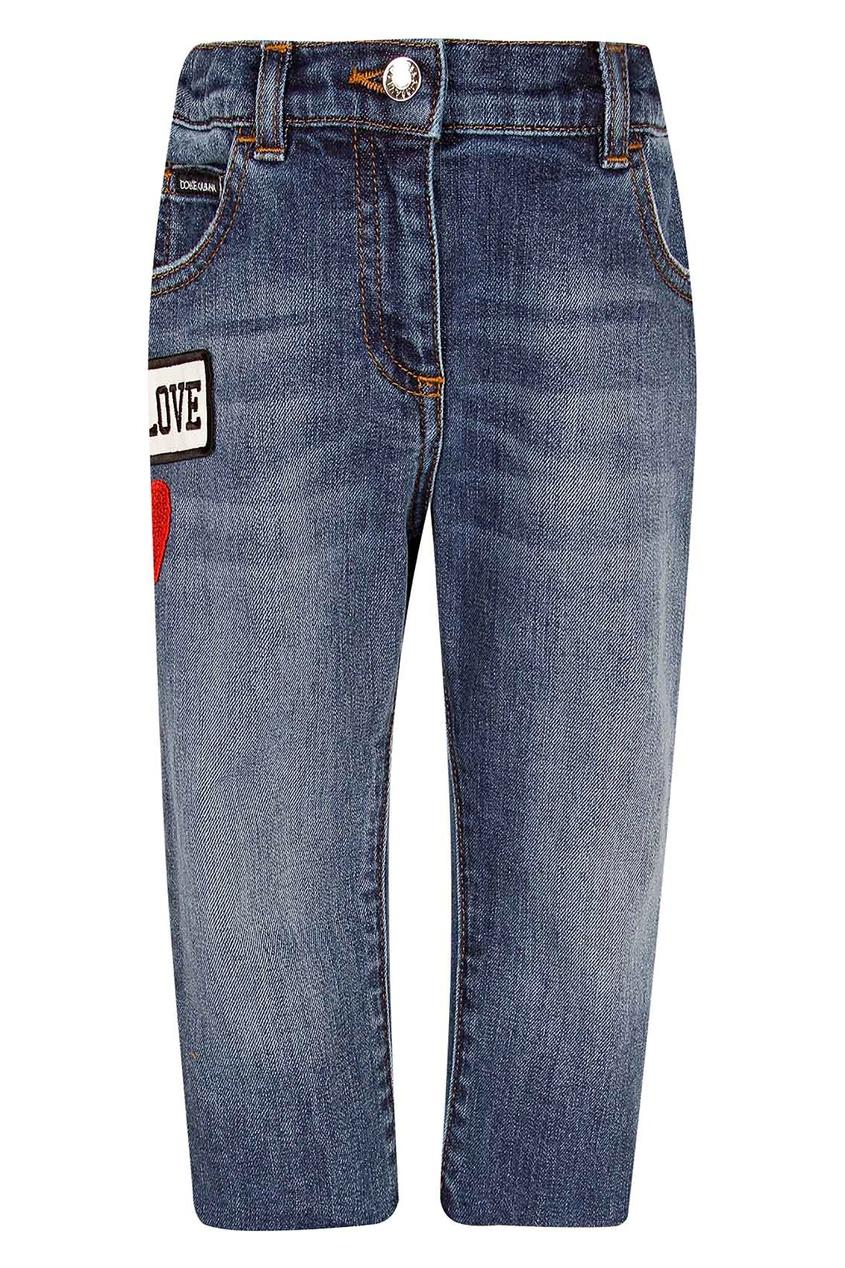 Хлопковые джинсы с нашивками