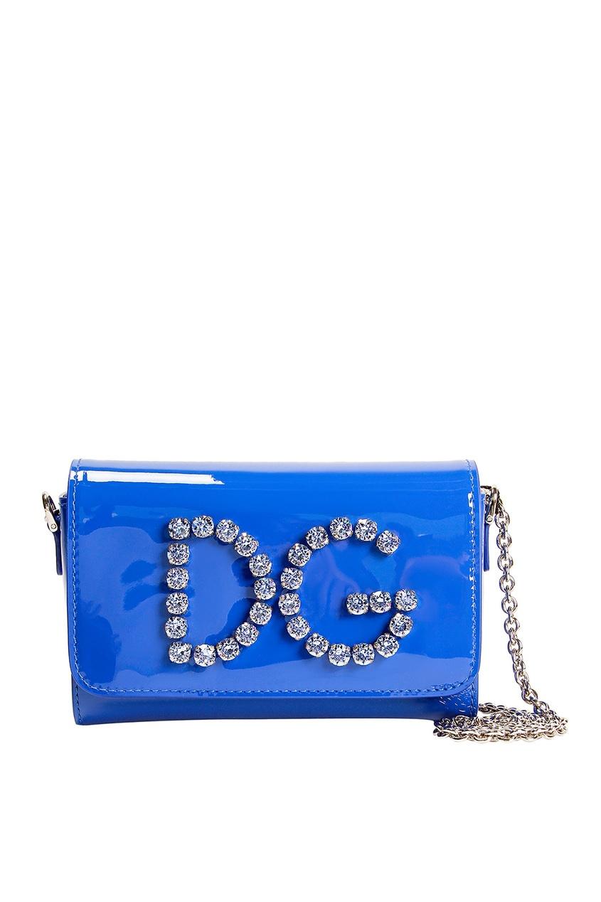 Синяя сумка с кристаллами Dolce&Gabbana Kids