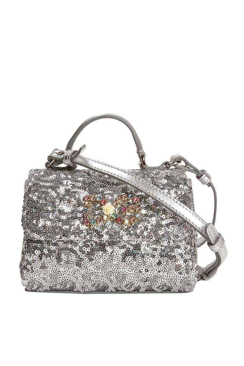 Сумка с пайетками и кристаллами Dolce&Gabbana Kids