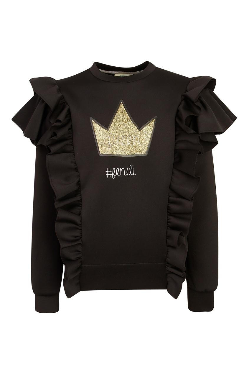 Купить Черный свитшот с оборками от Fendi Kids черного цвета