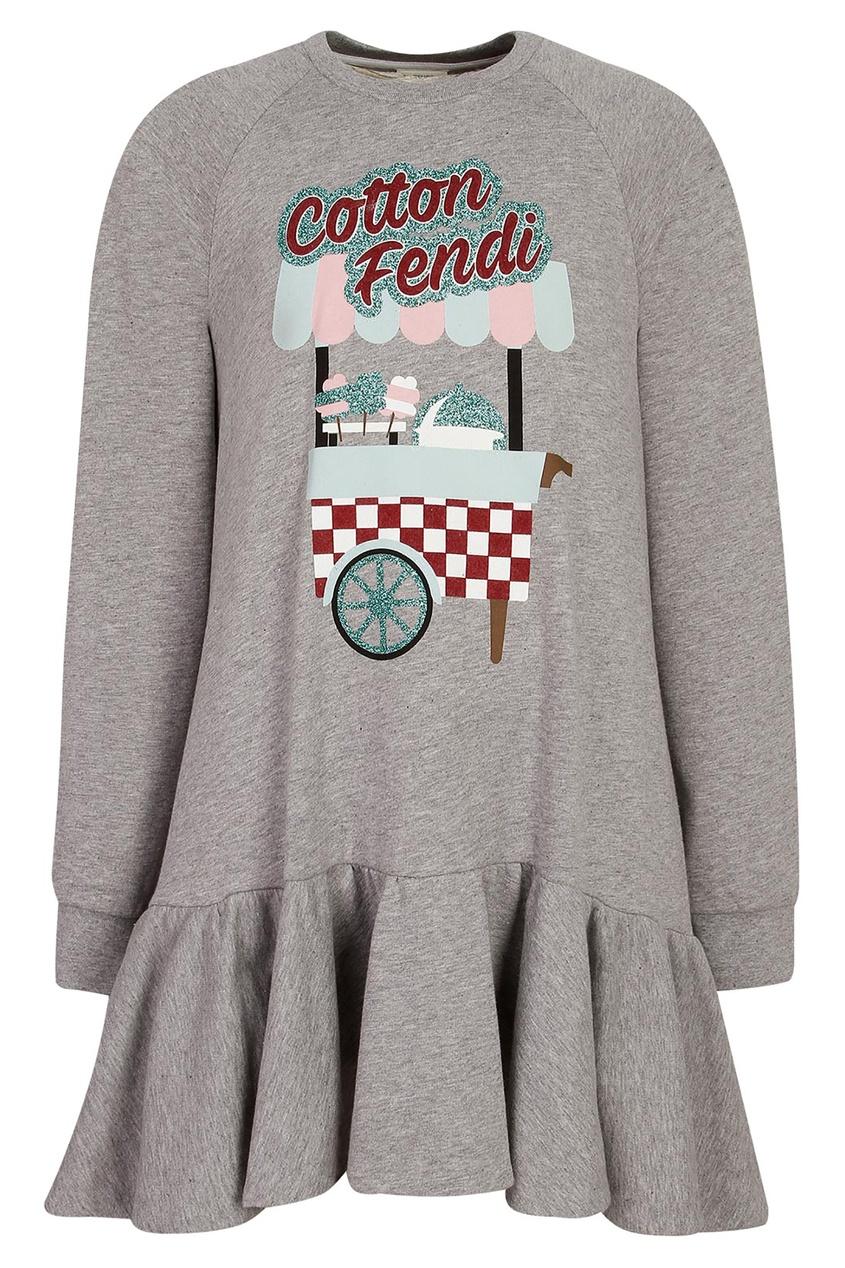 Купить Трикотажное платье с длинными рукавами от Fendi Kids серого цвета