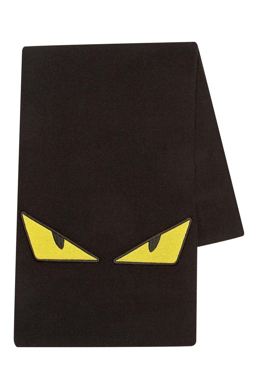 Черный шарф с контрастной аппликацией Fendi Kids