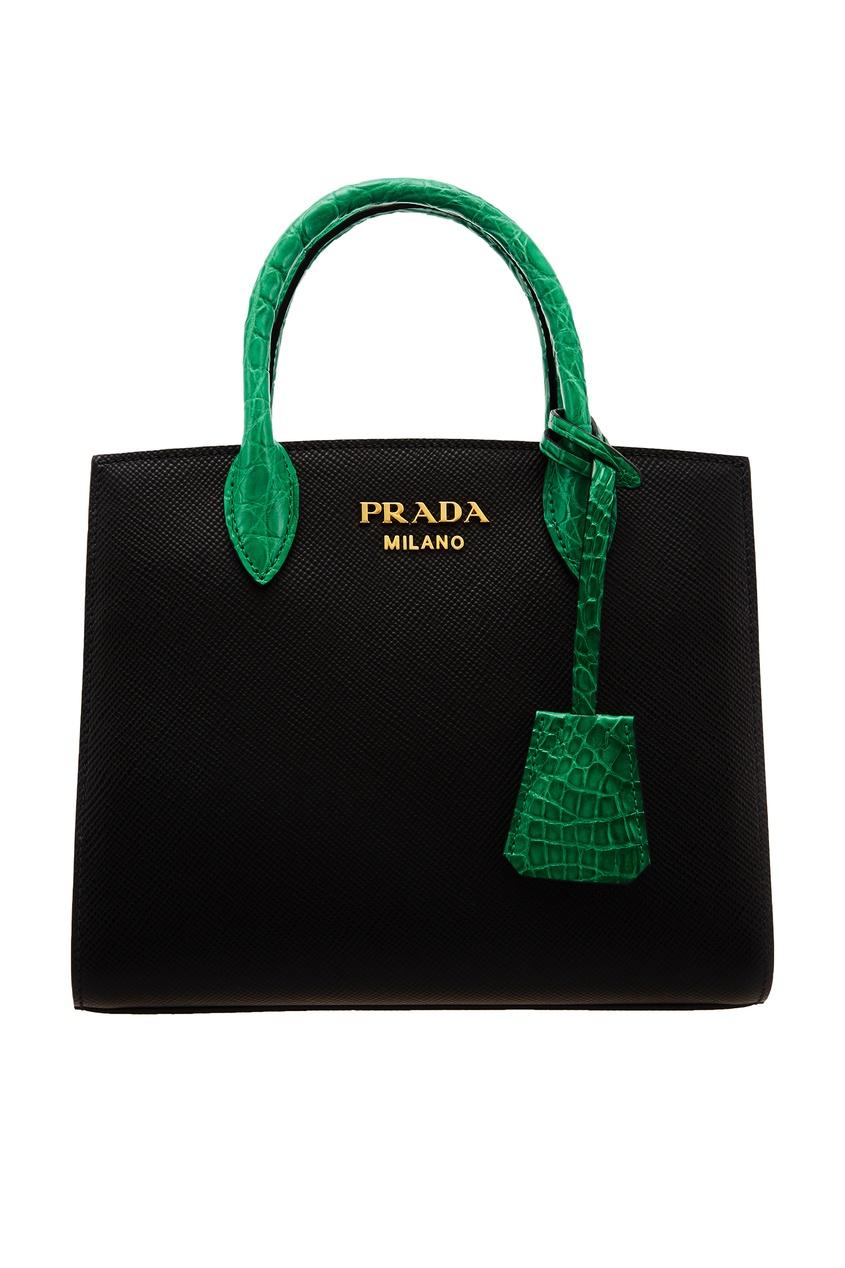 Черная сумка с контрастной отделкой