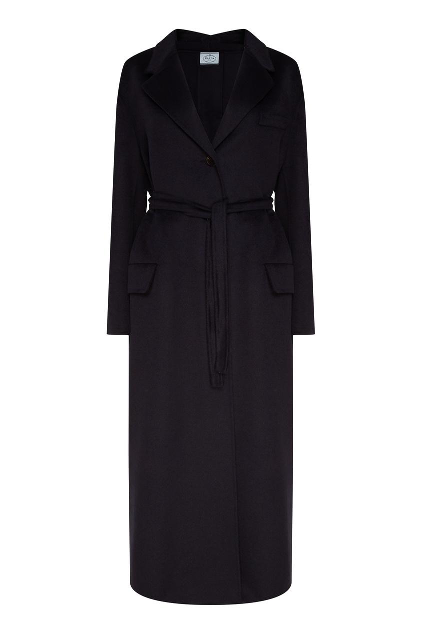 Купить Темно-синее пальто с поясом от Prada синего цвета