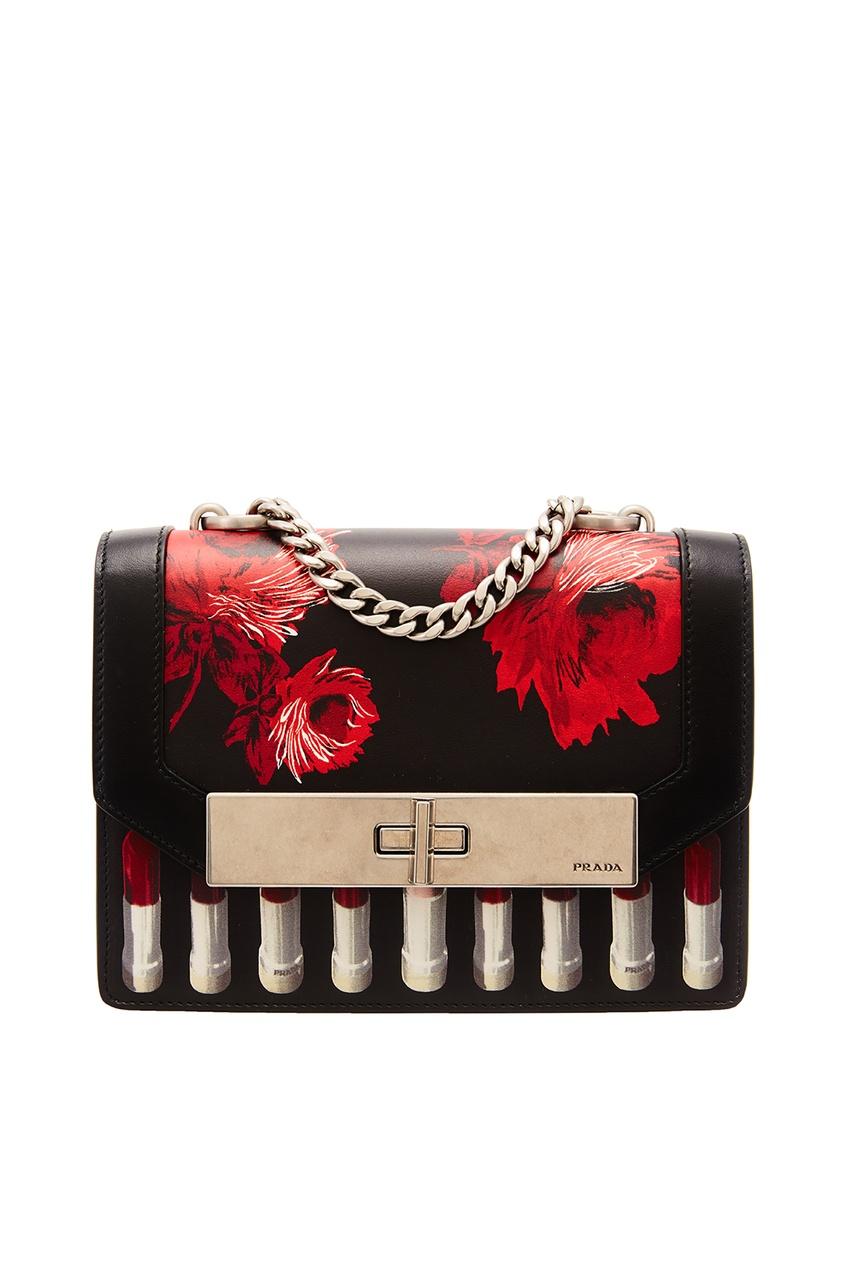 Черная сумка с красным принтом PRADA