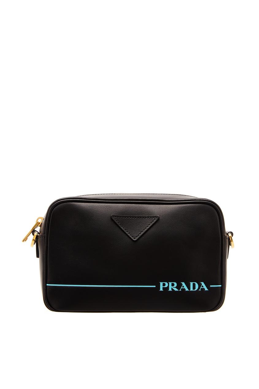 Кожаная сумка с контрастным логотипом PRADA