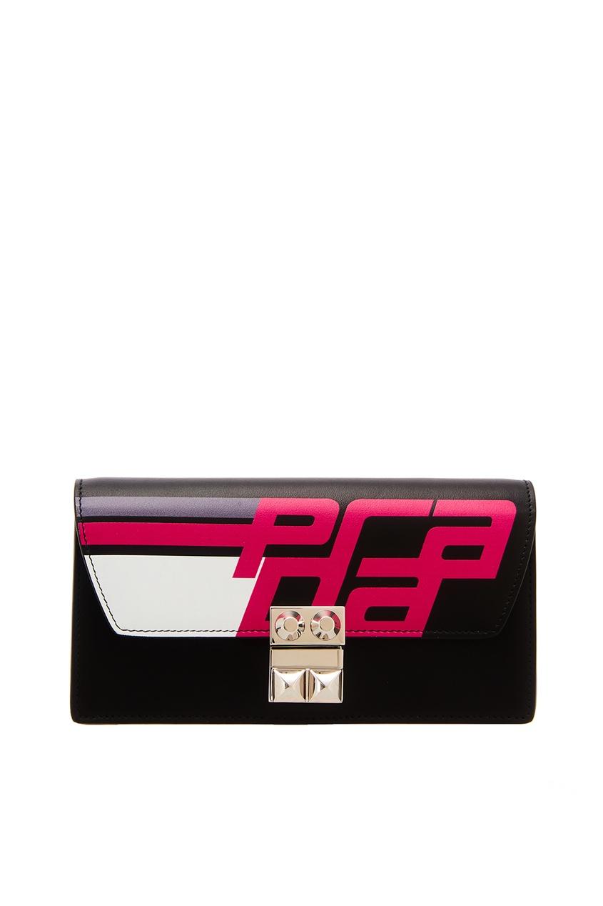 Кожаный клатч с принтом PRADA