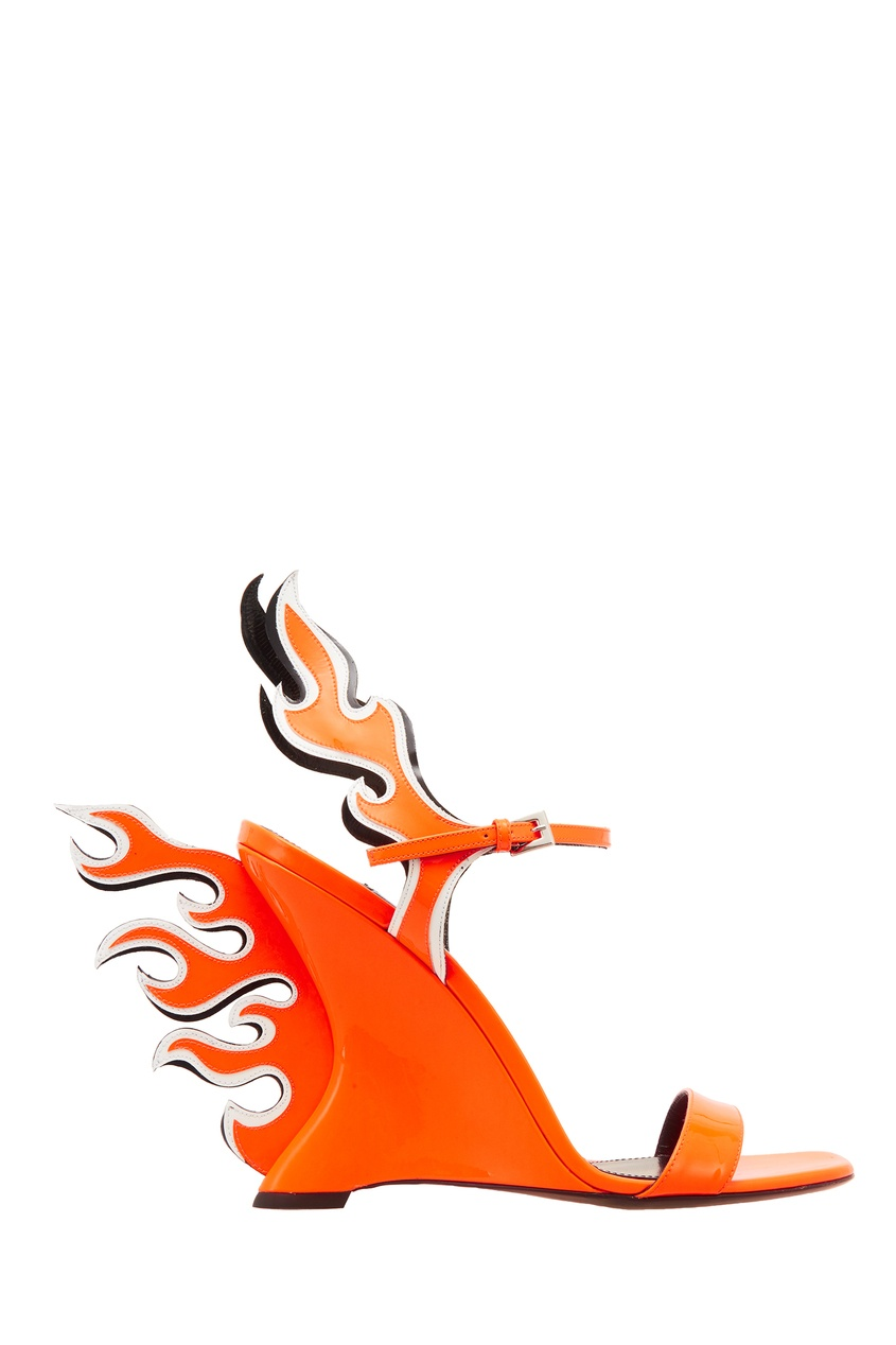 Оранжевые босоножки с отделкой PRADA