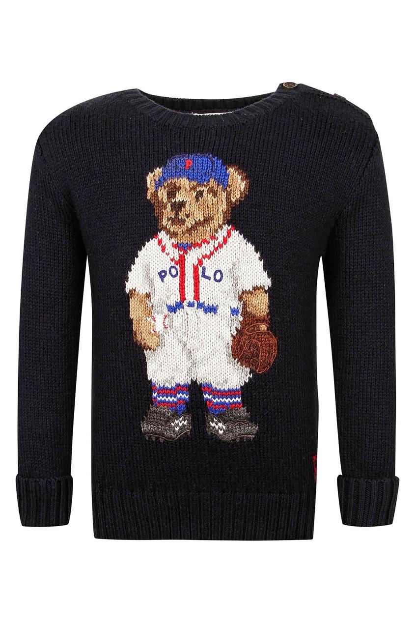 Купить Черный джемпер с медведем от Ralph Lauren Kids синего цвета