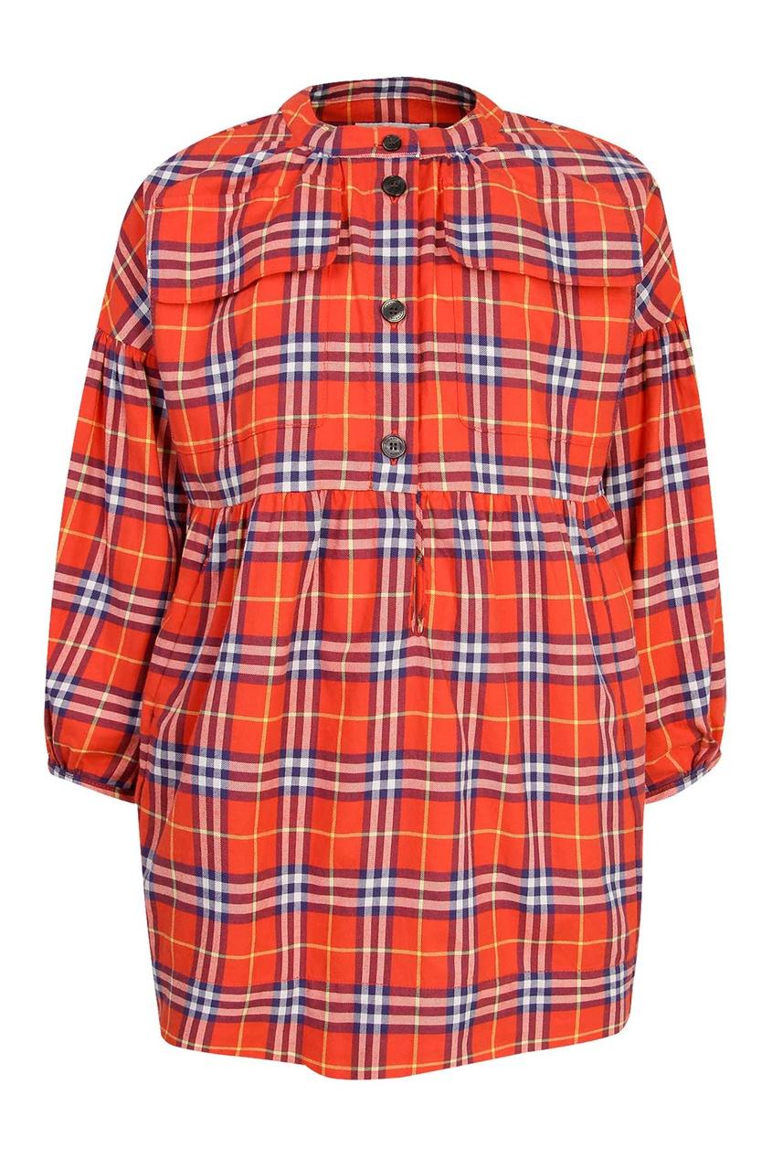 Красное платье в клетку Burberry Kids