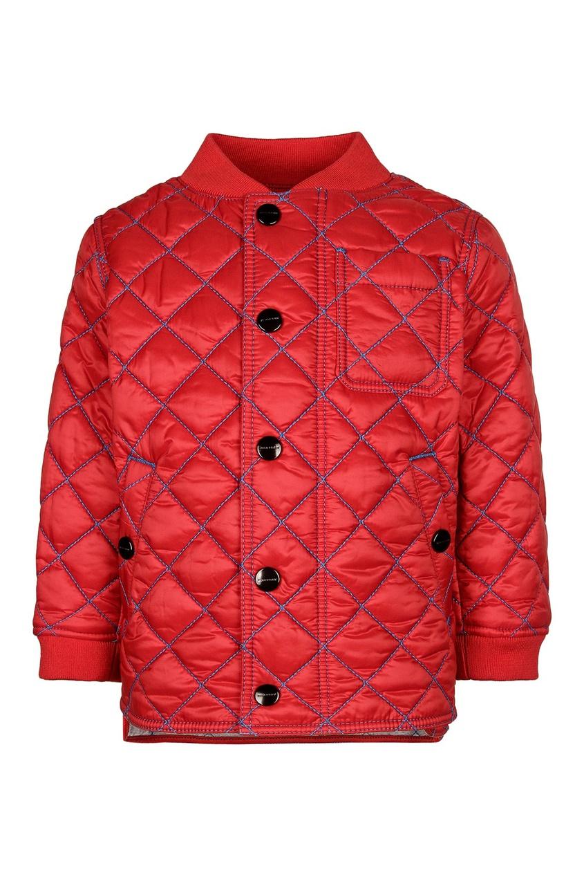 Стеганая куртка с контрастной отделкой от Burberry Kids