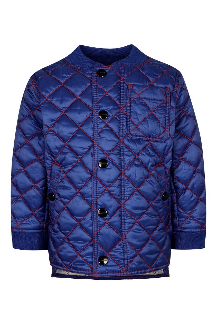 Синяя куртка с цветной отделкой Burberry Kids