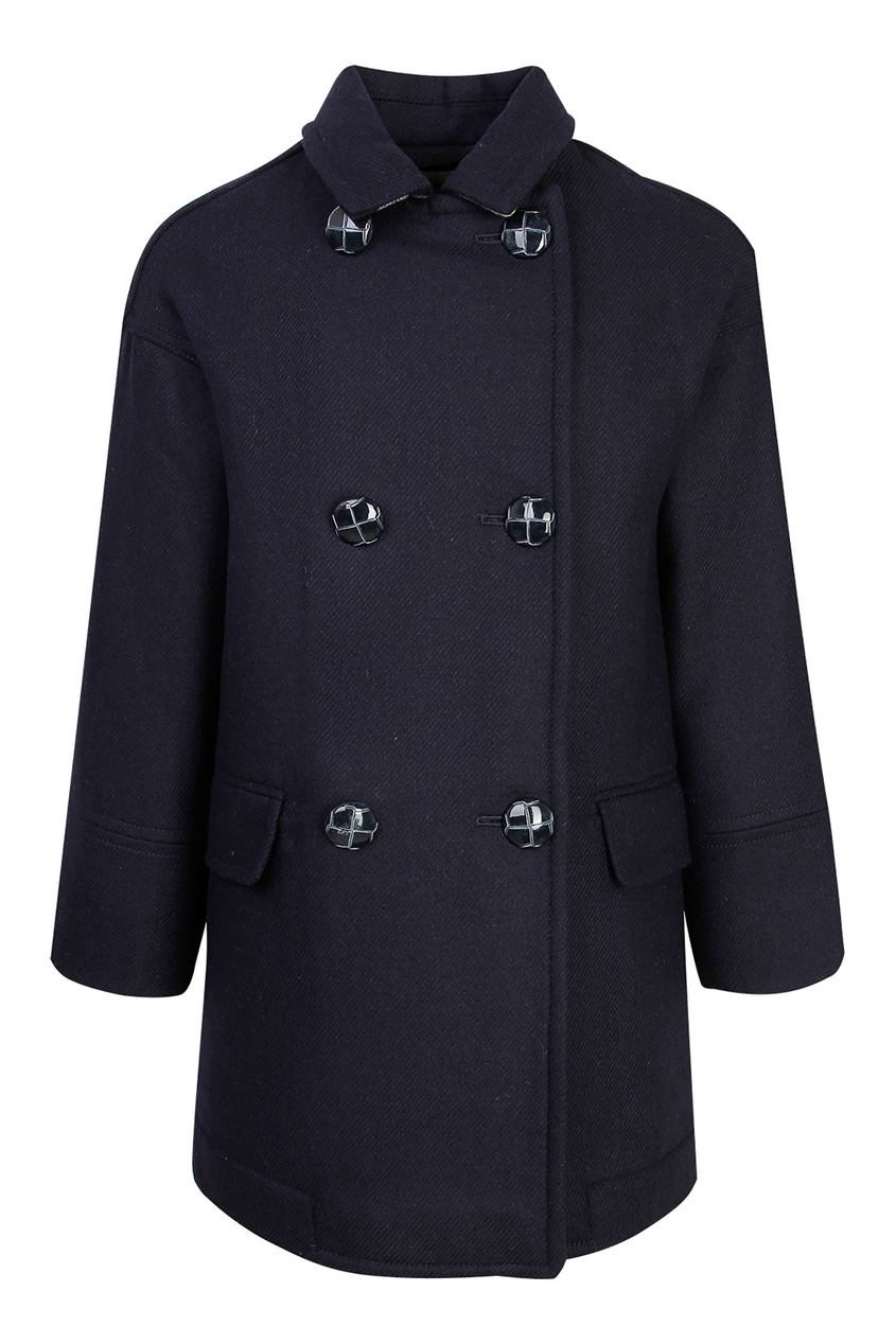 Синее двубортное пальто от Burberry Kids