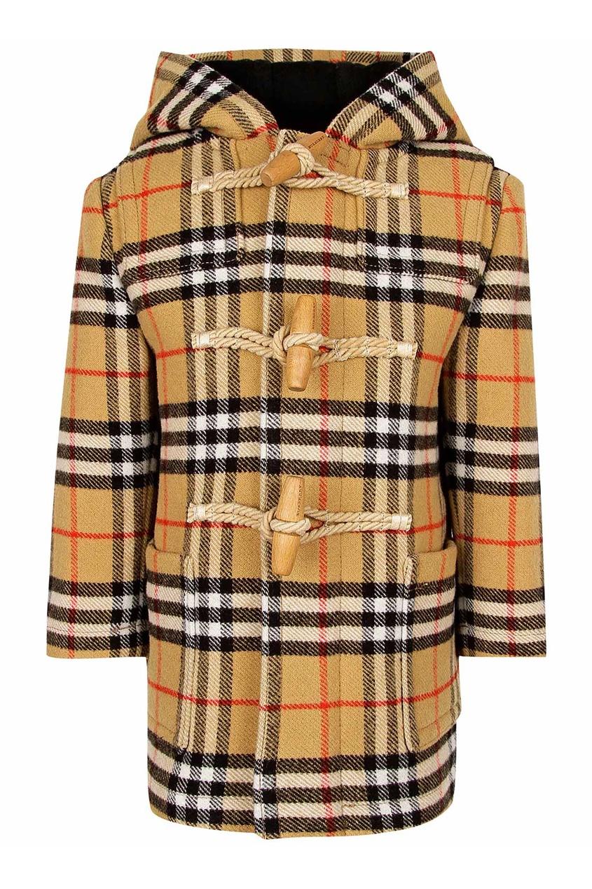 Пальто в клетку от Burberry Kids