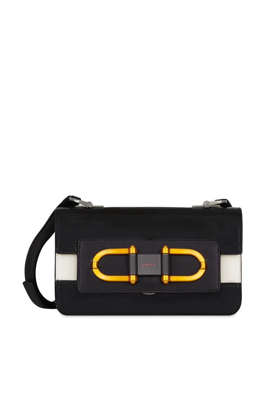 Черная кожаная сумка с отделкой Furla