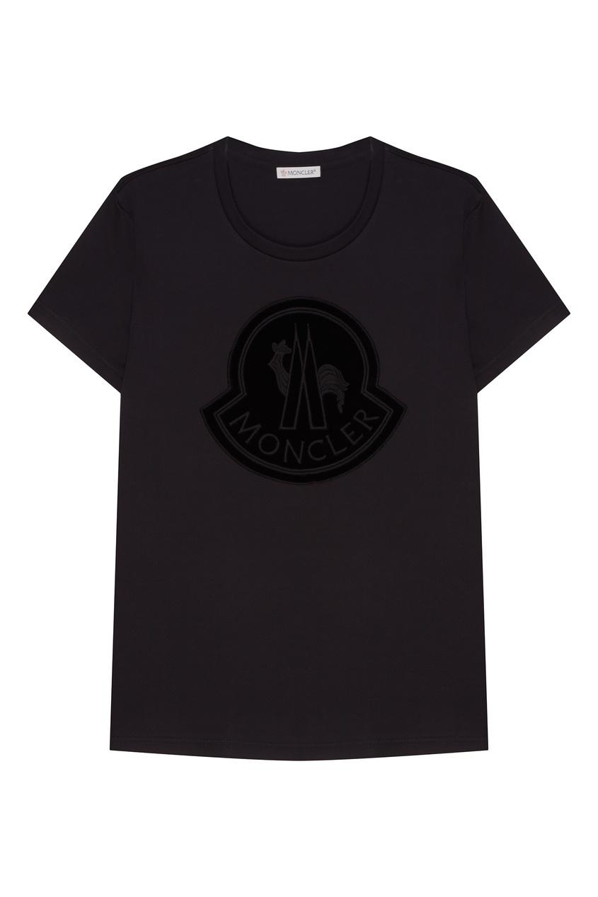 Купить со скидкой Хлопковая черная футболка с логотипом