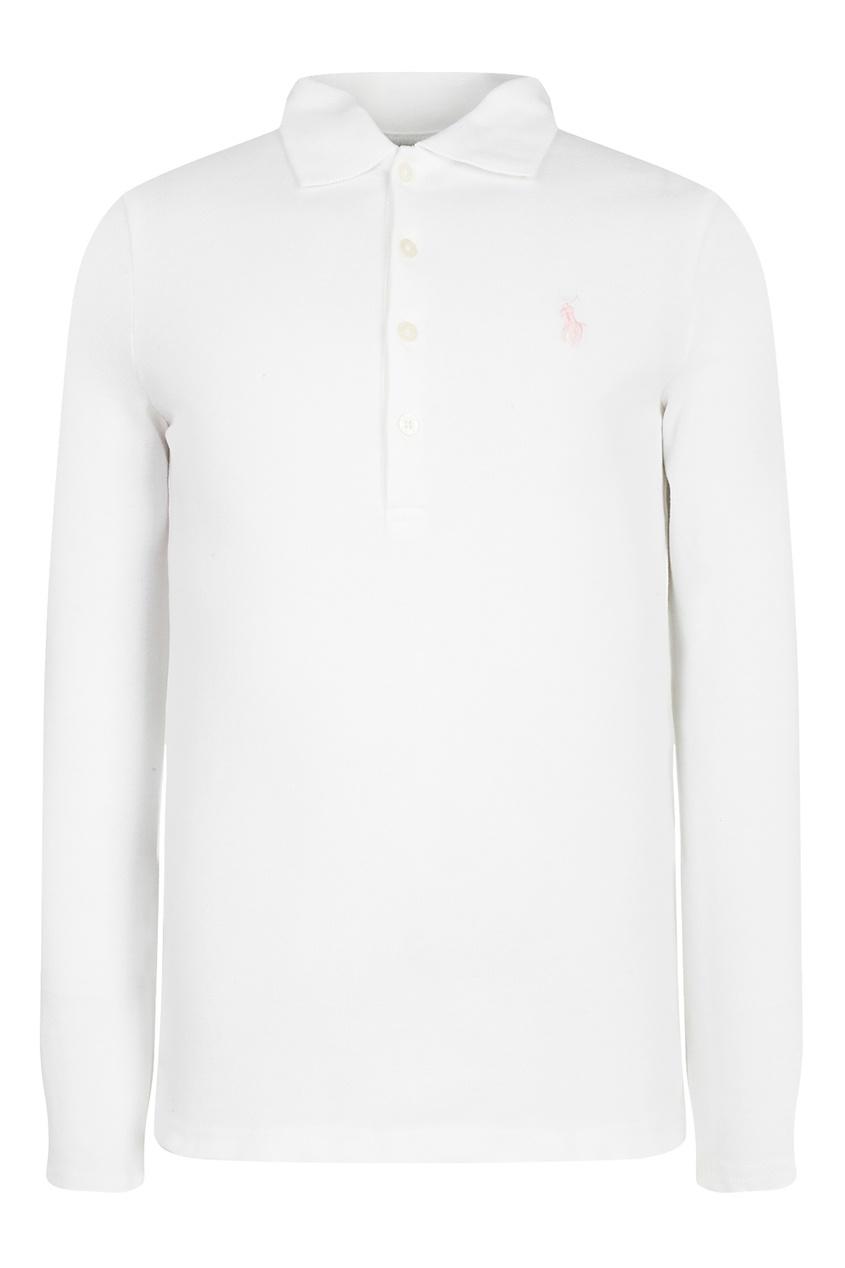 Белое поло с длинными рукавами от Polo Ralph Lauren Kids