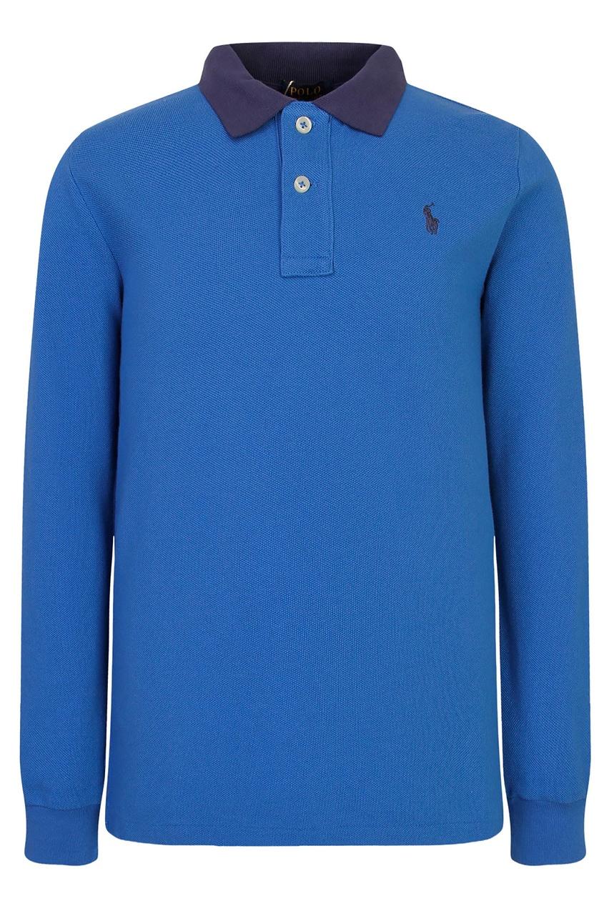 Голубое поло с контрастным воротником от Polo Ralph Lauren Kids