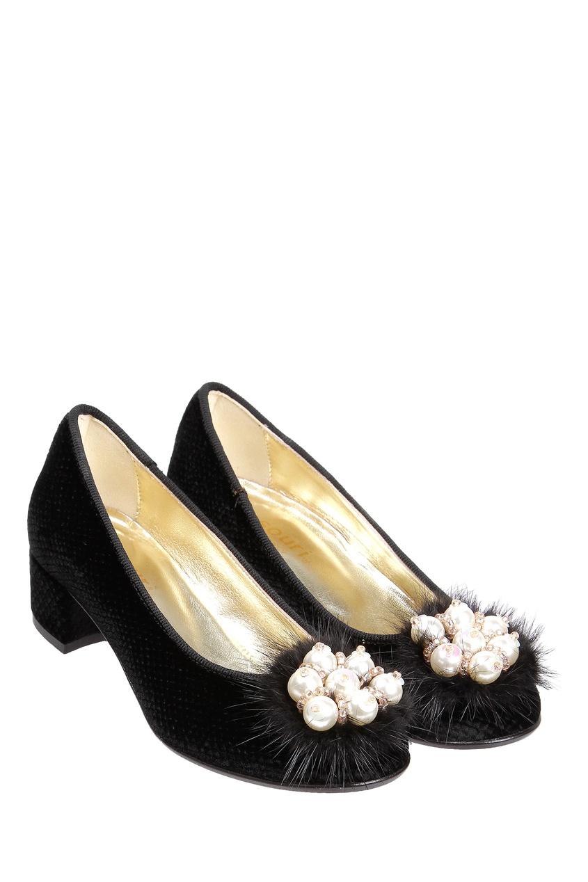 Черные туфли с мехом