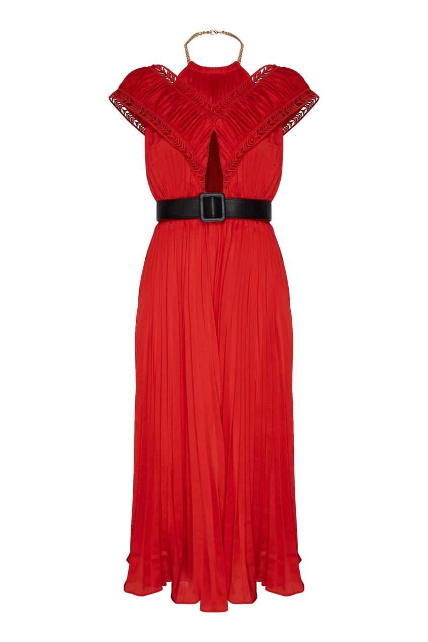 Красное платье с плиссировкой, Красный