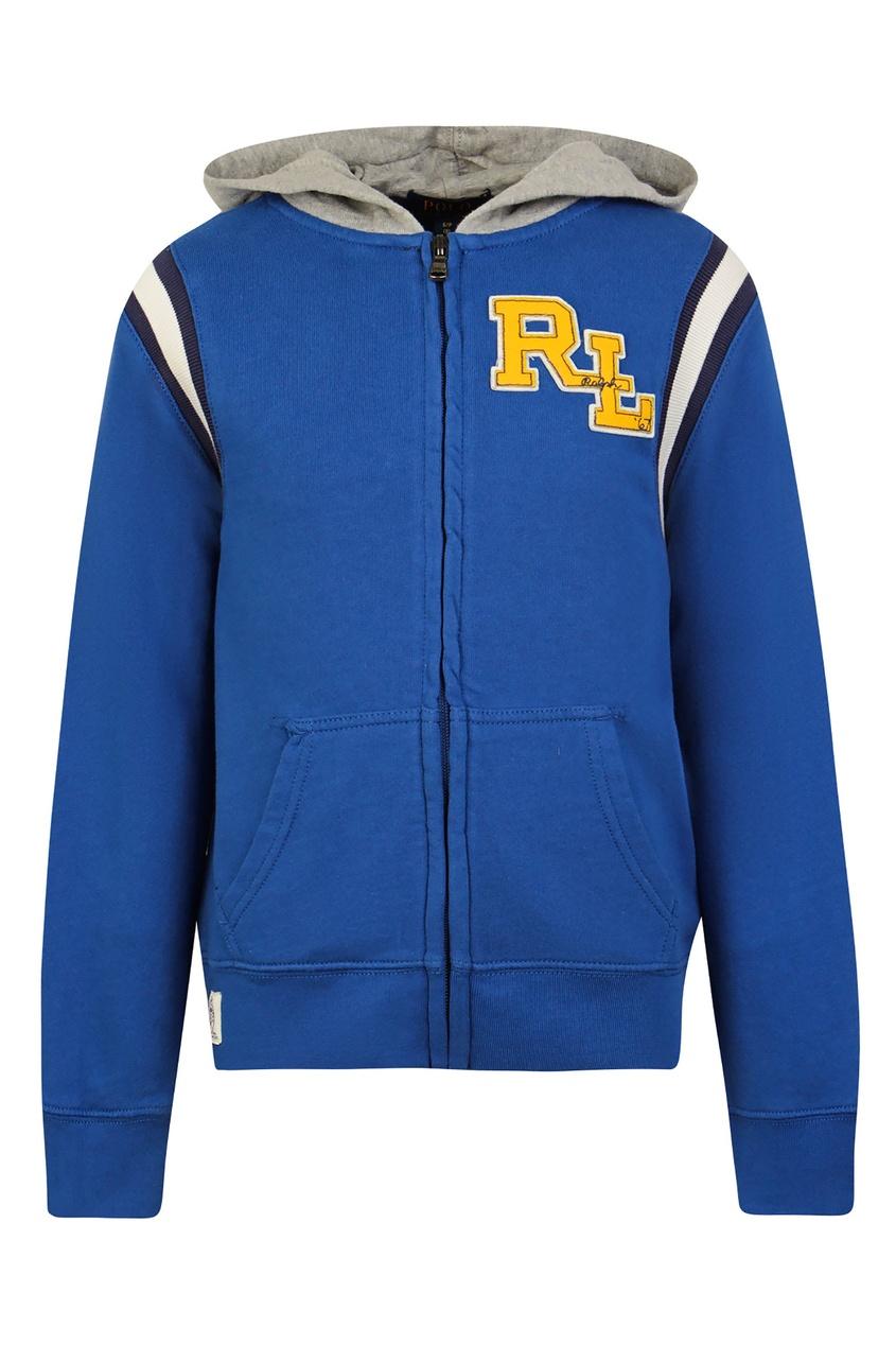 Купить Синее худи на молнии с белым логотипом от Polo Ralph Lauren Kids синего цвета