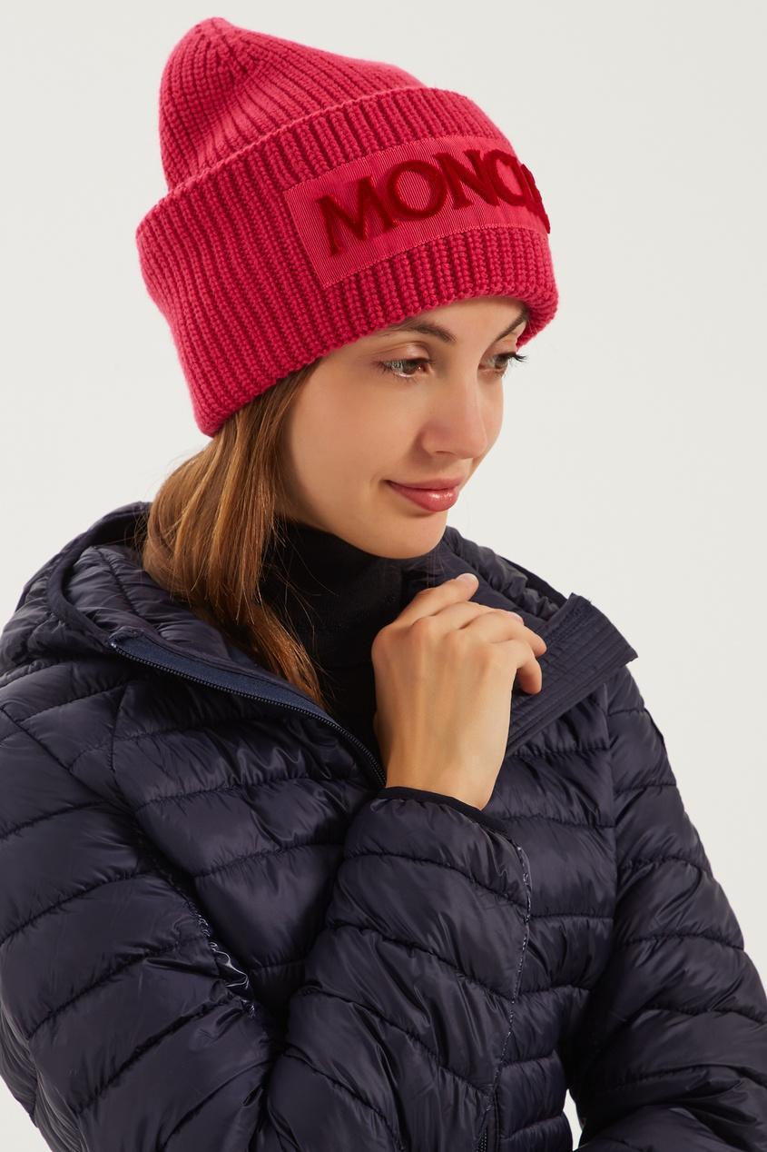 женская шапка moncler, розовая