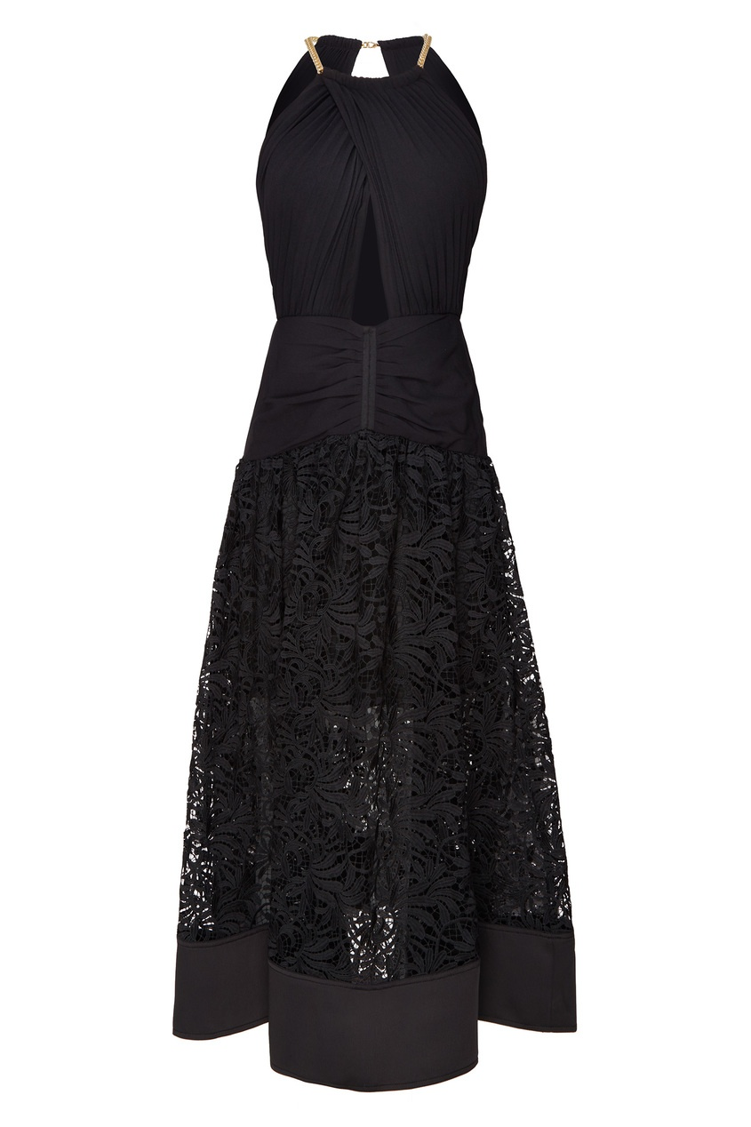Черное платье с кружевом Self-Portrait